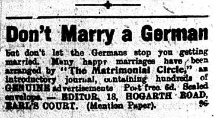 Don't Marry a German - Advertisement | Local Studies, RBKC and Kensington News. Based on research by Tom Vague.