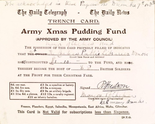 Army Christmas Pudding Fund acknowledgement card | Local Studies, RBKC