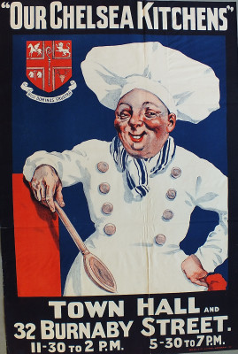 Poster advertising Chelsea Kitchen | Local Studies, RBKC