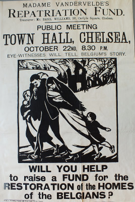 Poster appealing for funds to help Belgian refugees. | Local Studies, RBKC