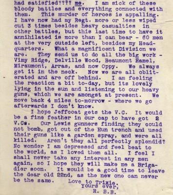 Letter from Barnett-Barker to Broughshane.   RBKC Local Studies