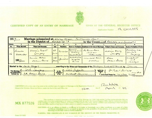 Lampey Marriage Certificate | Dorothy Storr