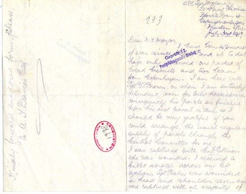 Maloney to Davison 31st July 1917 | RBKC Local Studies