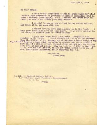 Davison to Barnett-Barker 25th April 1917   RBKC Local Studies