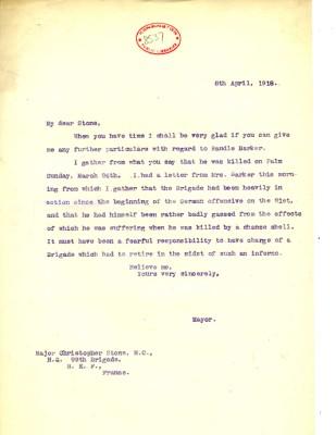 Davison to Stone 8th April 1918 | RBKC Local Studies