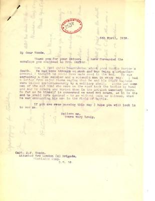 Davison to Woods 5th April 1918 | RBKC Local Studies