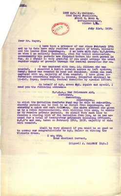 Maloney to Davison - 31st July 1917 - Typed Copy | RBKC Local Studies
