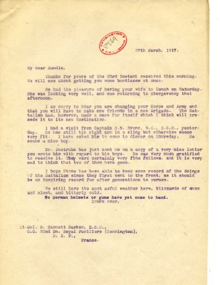 Davison to Barnett-Barker 27th March 1917 | RBKC Local Studies