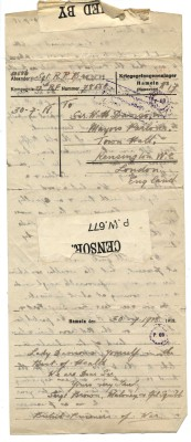 Brown, Maloney, Squibb to Davison 30th July 1918 - Reverse | RBKC Local Studies