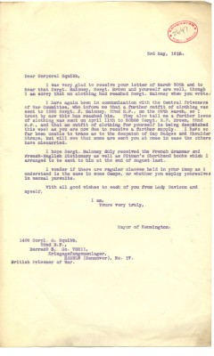 Davison to Squibb 3rd May 1918 | RBKC Local Studies