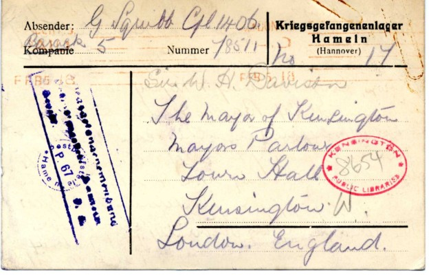 Davison to Squibb 3rd May 1918 | RBKC Local Studies