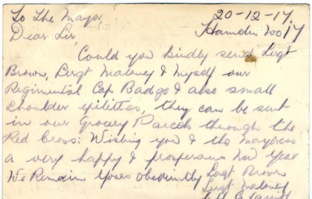 Davison to Squibb 3rd May 1918 - Reverse | RBKC Local Studies