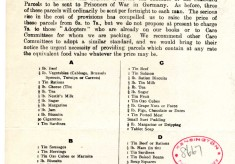 Central Prisoners of War Committee - Standard Parcels of Food