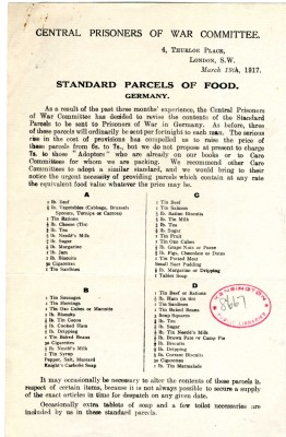 Central Prisoners of War Committee - Standard Parcels of Food | RBKC Local Studies