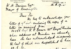 Impey to Davison 13th August 1917