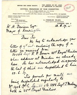 Impey to Davison 13th August 1917 | RBKC Local Studies