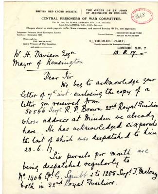 Impey to Davison 13th August 1917 | RBKC Local Studies