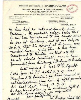 Impey to Davison 13th August 1917 - page two | RBKC Local Studies