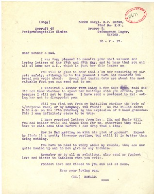 Brown to Parents 15th July 1917 | RBKC Local Studies