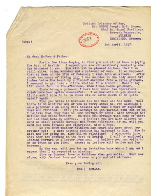 Brown to Parents 1st April 1917 | RBKC Local Studies