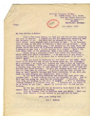 Brown to Parents 1st April 1917 | RBKC Local Studies