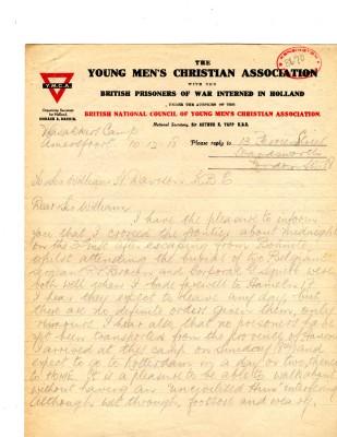 Maloney to Mayor 10th December 1918   RBKC Local Studies