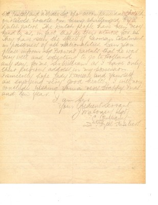 Maloney to Mayor 10th December 1918 - page two   RBKC Local Studies