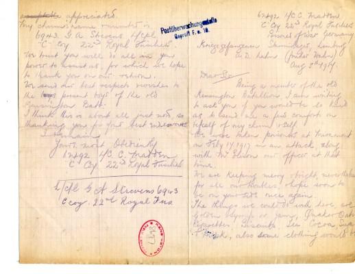 Madden to Davison 5th August 1917 | RBKC Local Studies