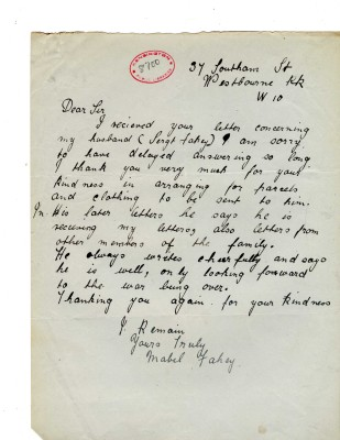 Mabel Fahey to Davison, c. March 1918 | RBKC Local Studies