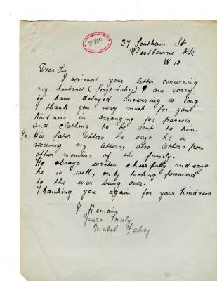 Mabel Fahey to Davison, c. March 1918 | RBKC Local Studies