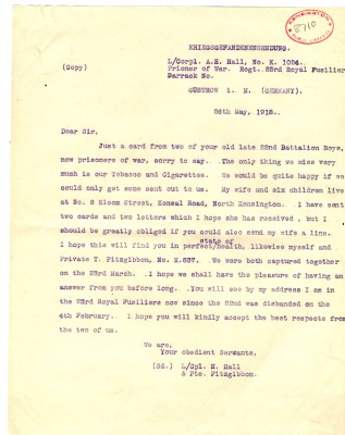 Hall and Fitzgibbon to Davison - 26th May 1918 | RBKC Local Studies