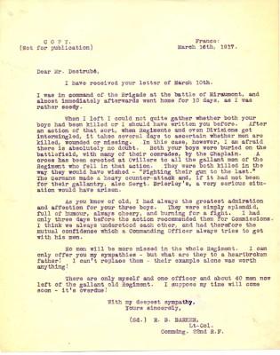 Barnet-Barker to E Destrube 16th March 1917   RBKC Local Studies
