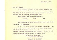 E Destrube to Davison 24th March 1917