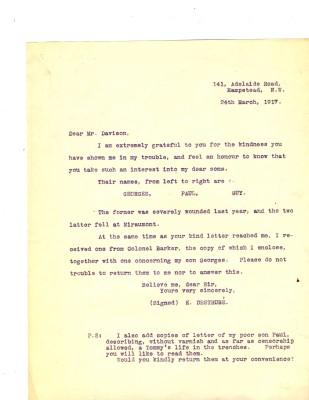 E Destrube to Davison 24th March 1917 | RBKC Local Studies