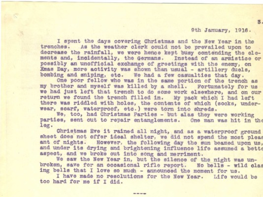 Destrube to Marion 9th January 1916 | RBKC Local Studies