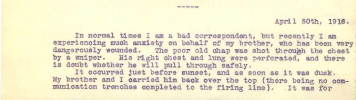 Destrube to Marion 30th April 1916   RBKC Local Studies