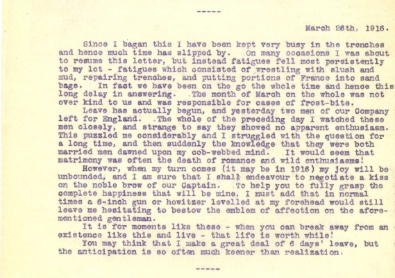Destrube to Marion - 26th March 1916 | RBKC Local Studies
