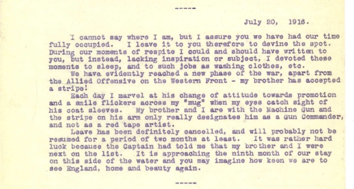 Destrube to Marion 20th July 1916   RBKC Local Studies